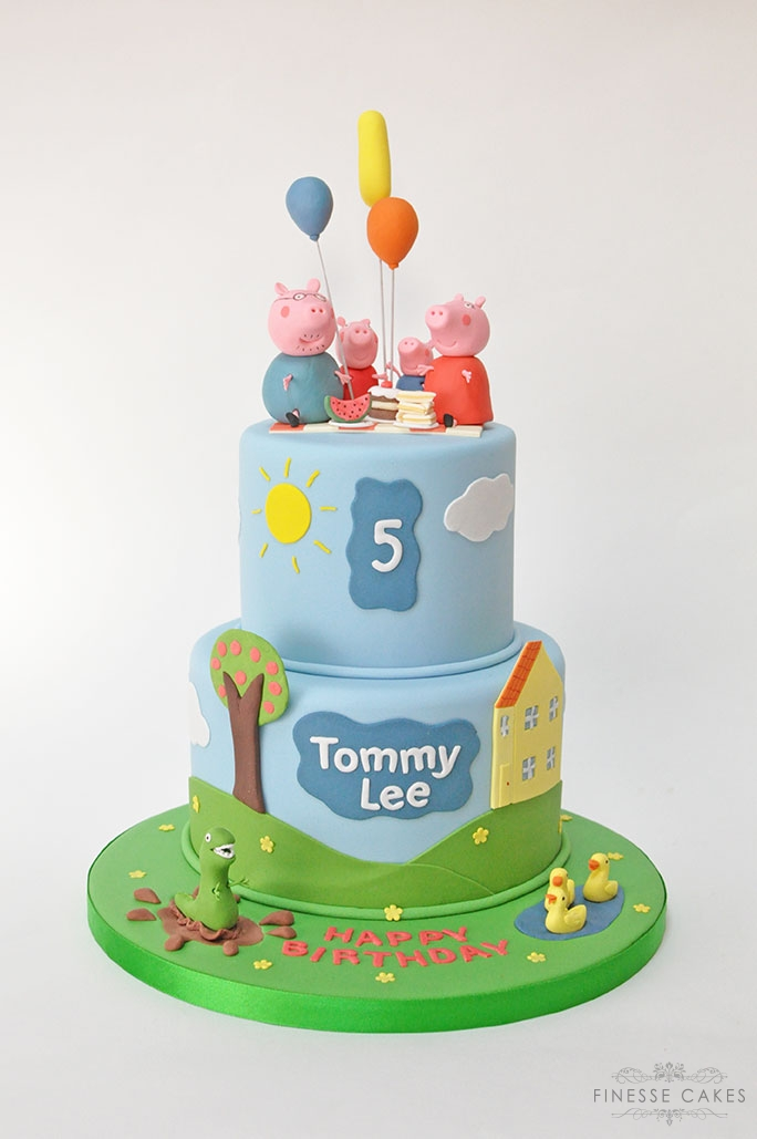 pig themed 2 tier birthday cake