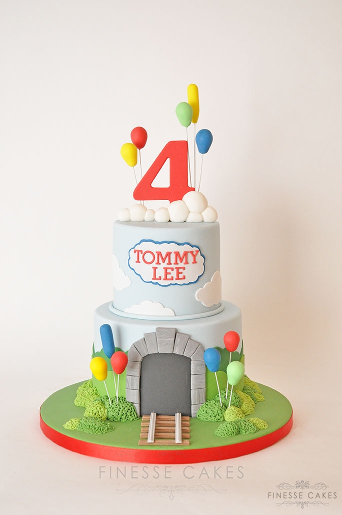 boys train themed cake 4th birthday balloons essex