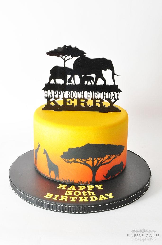safari birthday cake sunset silhouette animals giraffe rhino elephants african hockley essex