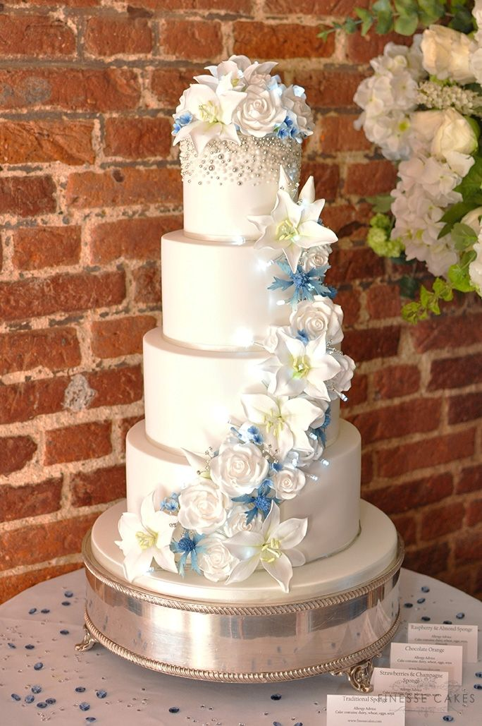 silver lily light up wedding cake leez priory