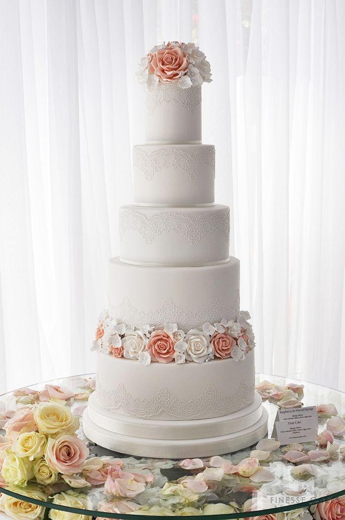 5 tier peach roses wedding cake braxted park