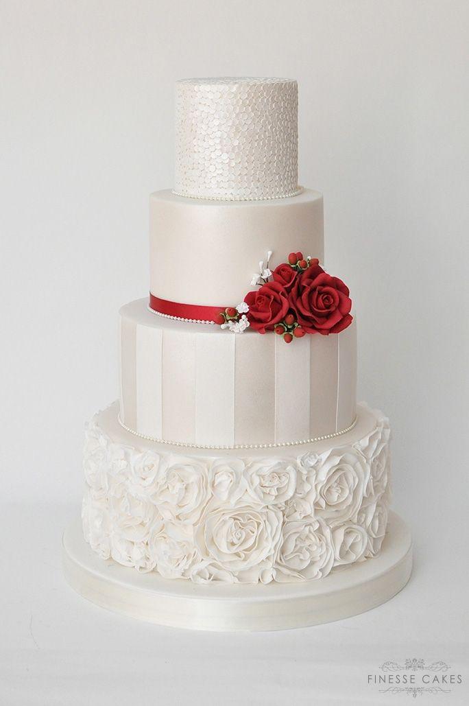winter red sequins wedding cake essex