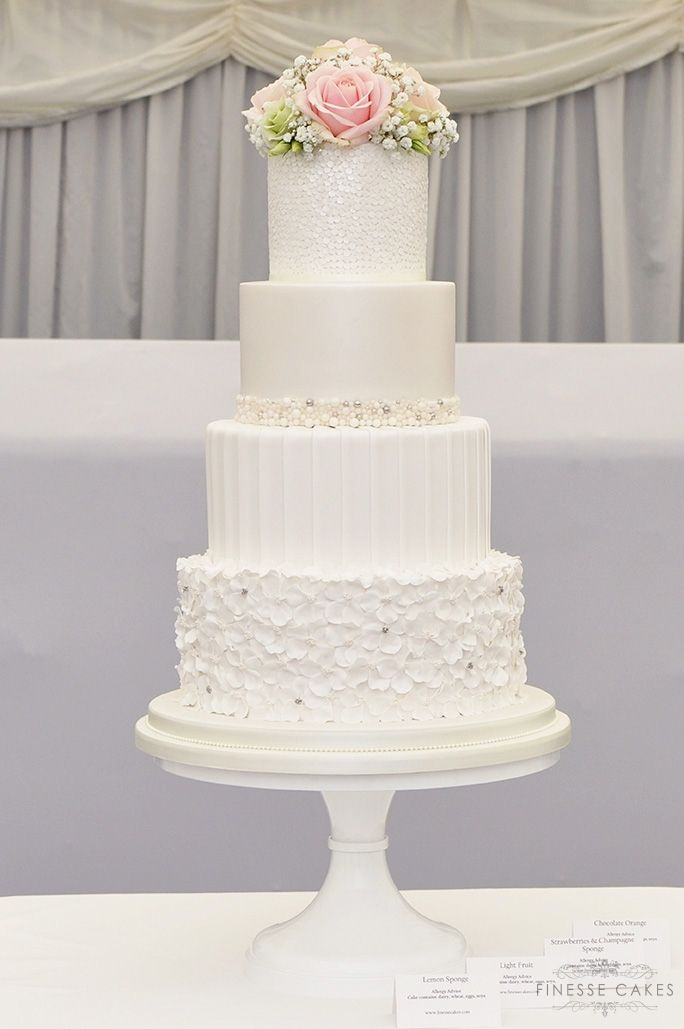 pearls sequins ruffles wedding cake