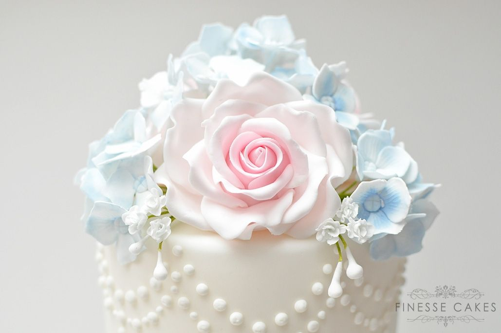 sugar roses hydrangea pink blue wedding essex