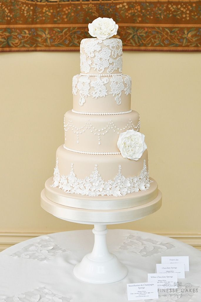 blush embroidery lace wedding cake the lawn
