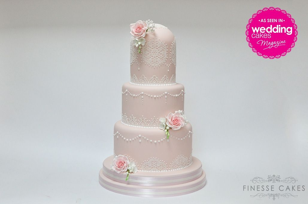 blush pink peach lace dome wedding cake newlands park