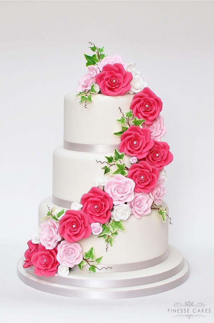 roses cascade wedding cake the lawn rochford