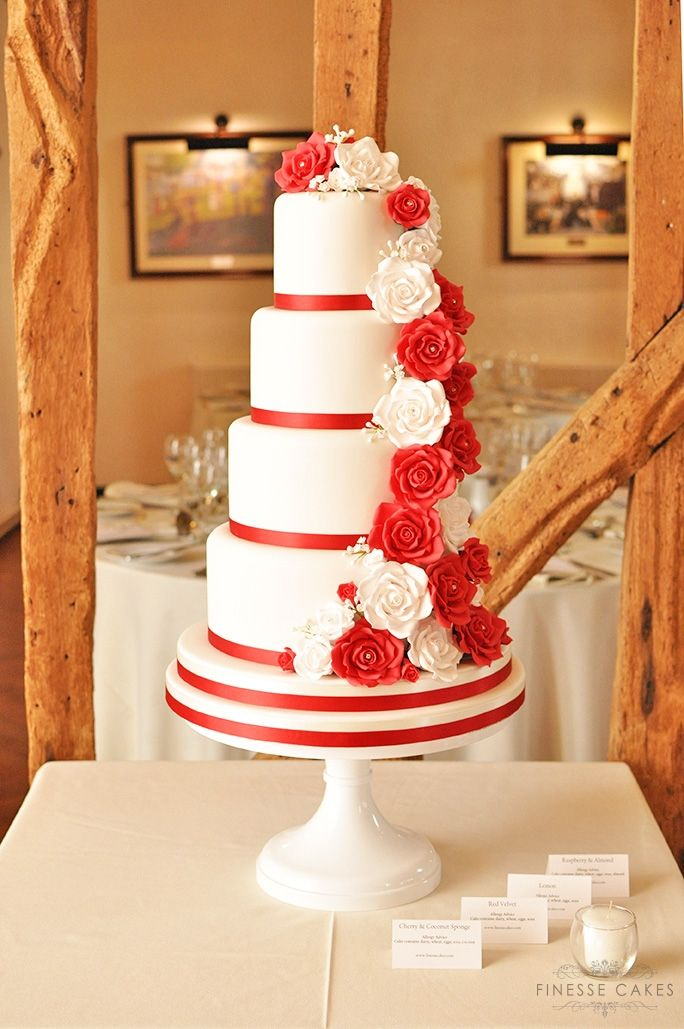 red white roses cascade wedding cake crondon park