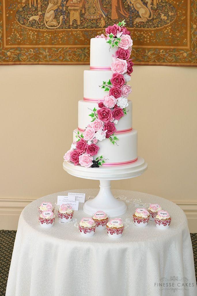 pink roses cascade wedding cake essex