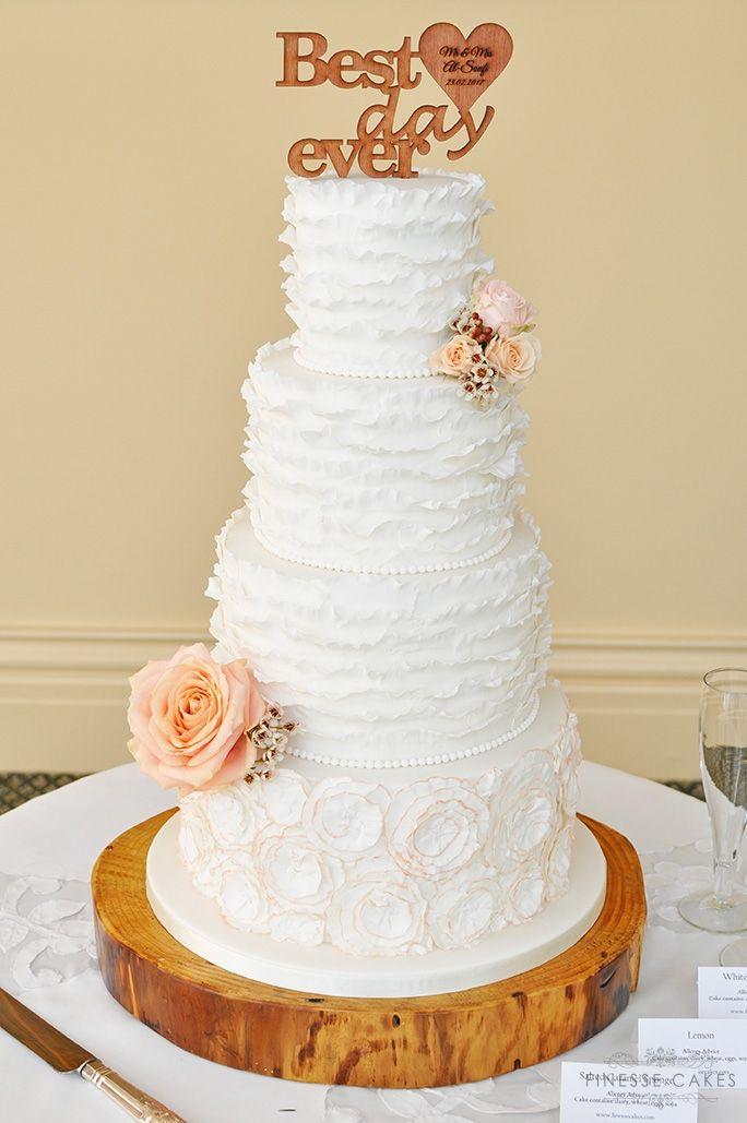 ruffles fresh flowers wedding cake the lawn