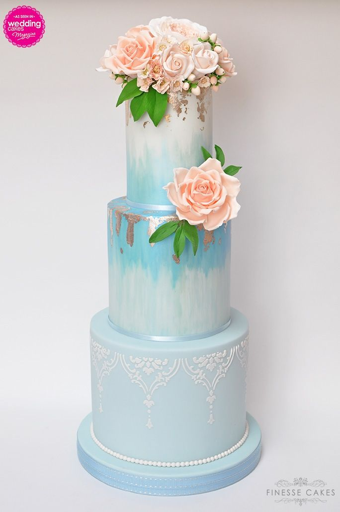 3 tall tiers hand painted blue and silver leaf peach flowers