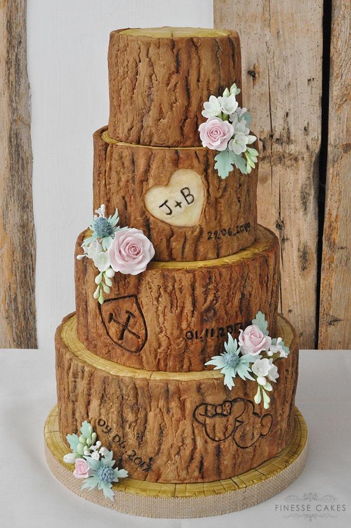 wood slice wedding cake maidens barn essex cake maker